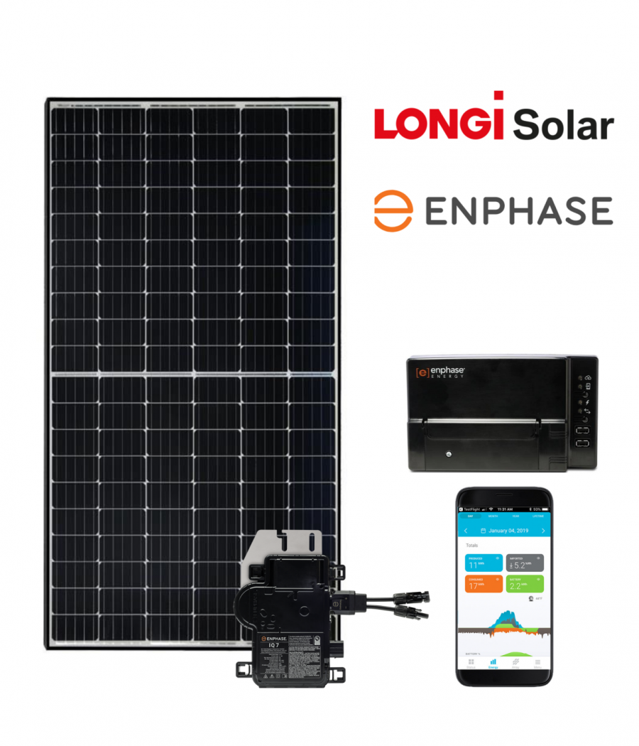 8 zonnepanelen set LONGi Solar - Half Cut - 360Wp - Enphase Micro omvormers | 2880 Wp - 2735 kWh